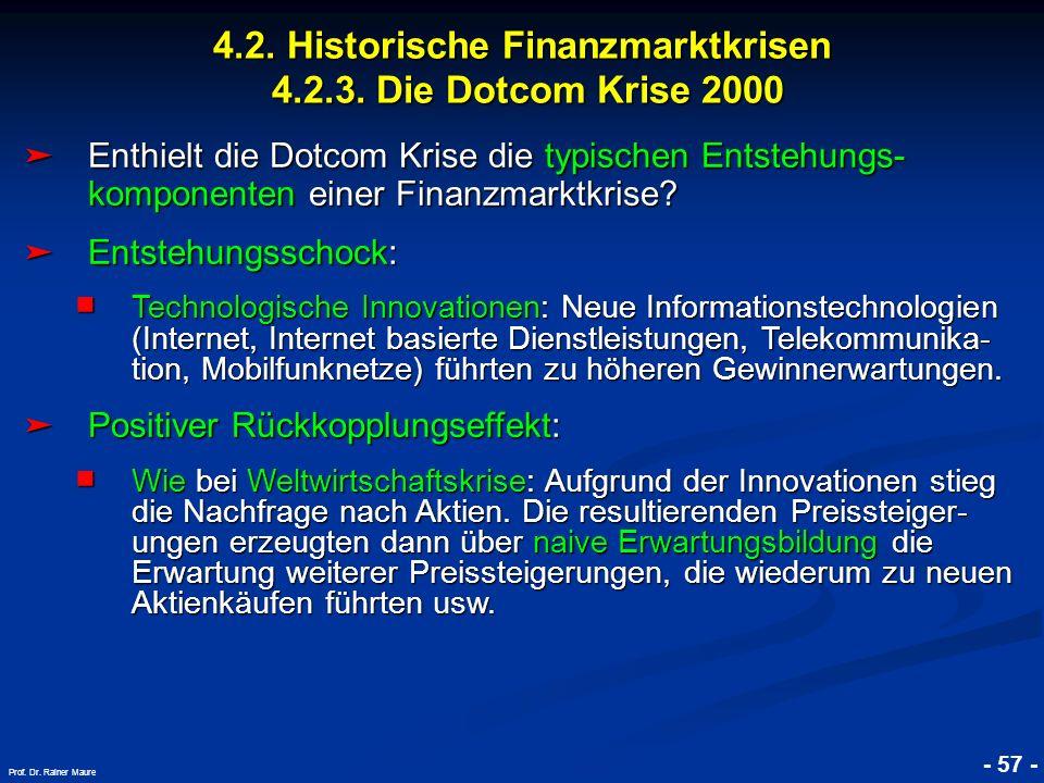 © RAINER MAURER, Pforzheim 4.2. Historische Finanzmarktkrisen 4.2.3. Die Dotcom Krise 2000 - 57 - Prof. Dr. Rainer Maure Enthielt die Dotcom Krise die