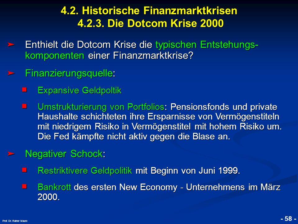 © RAINER MAURER, Pforzheim 4.2. Historische Finanzmarktkrisen 4.2.3. Die Dotcom Krise 2000 - 58 - Prof. Dr. Rainer Maure Enthielt die Dotcom Krise die