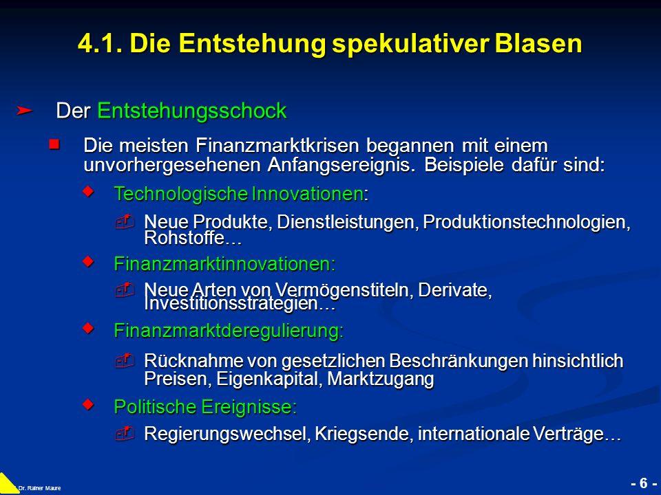 © RAINER MAURER, Pforzheim 4.1. Die Entstehung spekulativer Blasen - 6 - Prof. Dr. Rainer Maure Der Entstehungsschock Der Entstehungsschock Die meiste