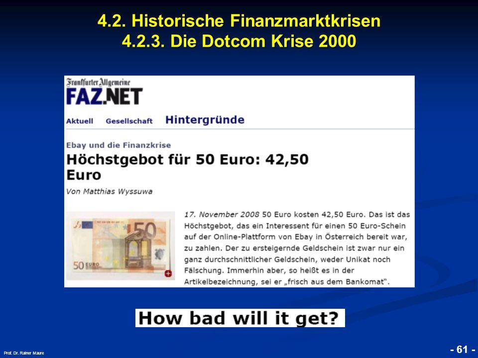 © RAINER MAURER, Pforzheim 4.2. Historische Finanzmarktkrisen 4.2.3. Die Dotcom Krise 2000 - 61 - Prof. Dr. Rainer Maure