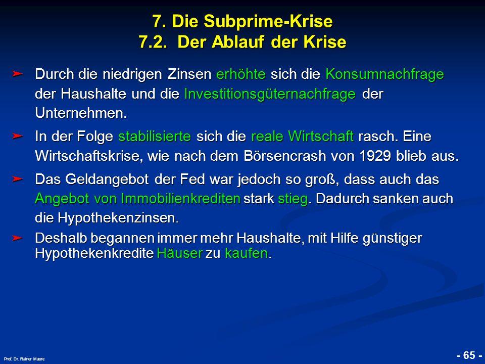 © RAINER MAURER, Pforzheim 7. Die Subprime-Krise 7.2. Der Ablauf der Krise - 65 - Prof. Dr. Rainer Maure Durch die niedrigen Zinsen erhöhte sich die K