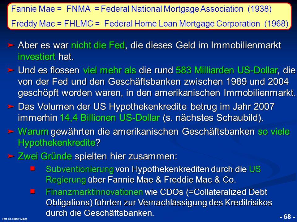 © RAINER MAURER, Pforzheim 7. Die Subprime-Krise 7.2. Der Ablauf der Krise - 68 - Prof. Dr. Rainer Maure Aber es war nicht die Fed, die dieses Geld im