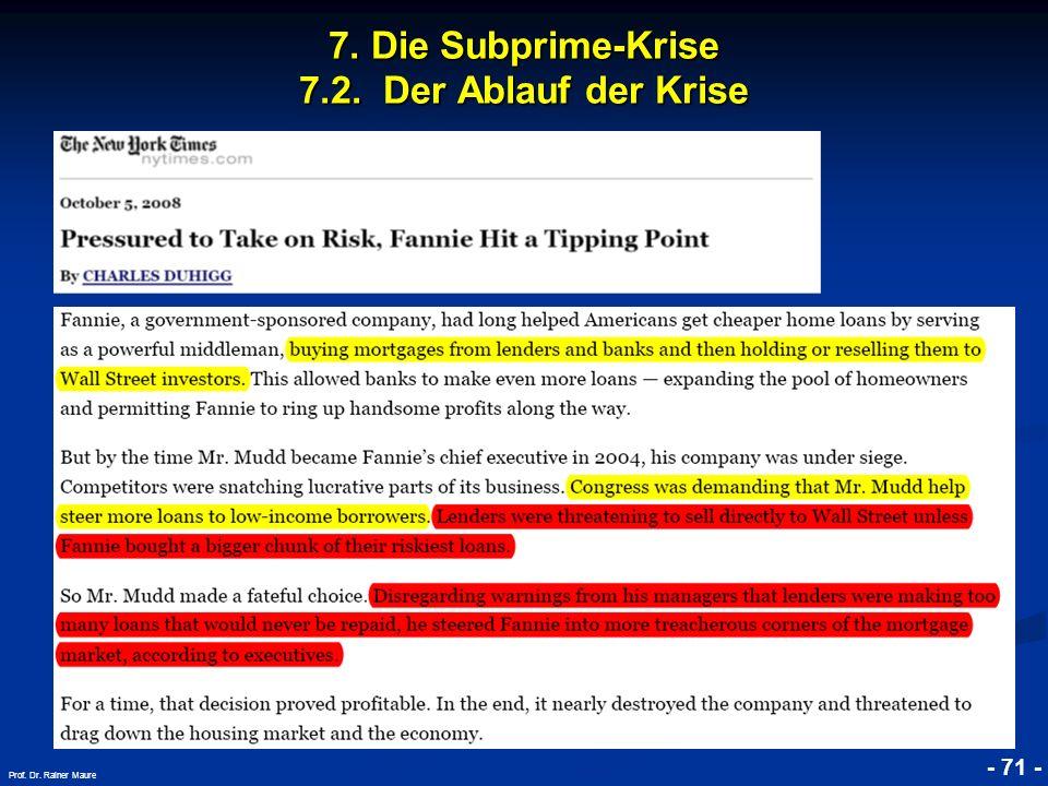 © RAINER MAURER, Pforzheim 7. Die Subprime-Krise 7.2. Der Ablauf der Krise - 71 - Prof. Dr. Rainer Maure
