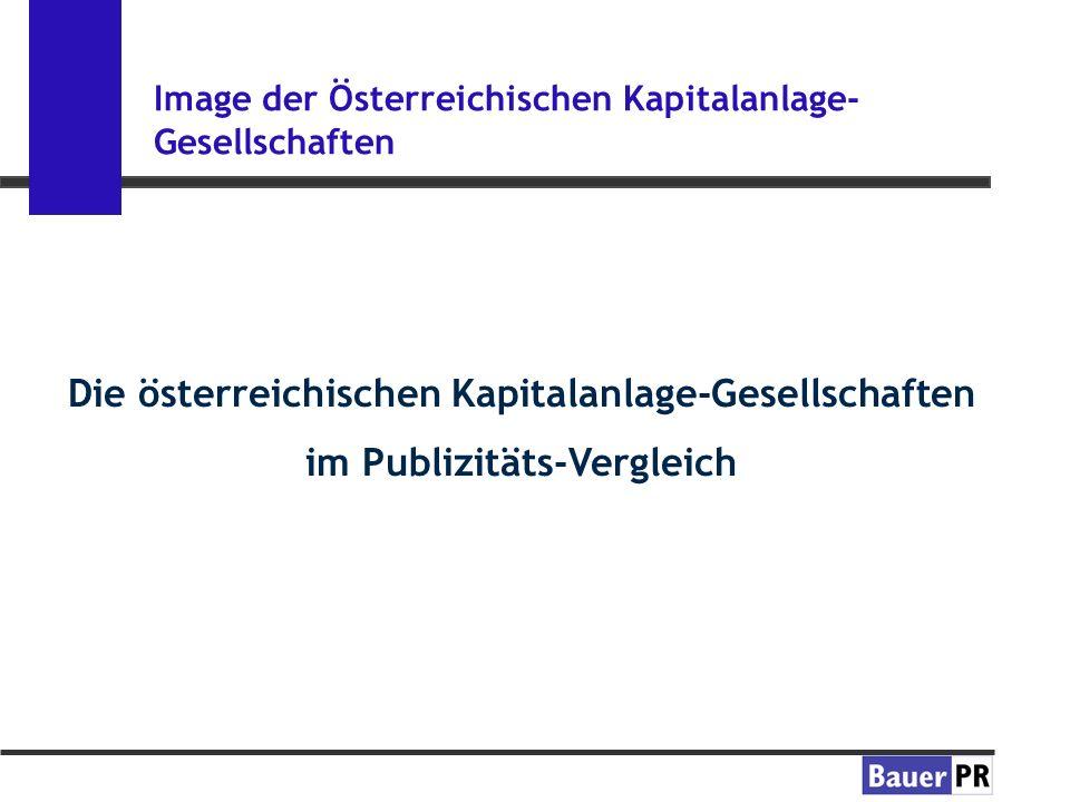 Image der Österreichischen Kapitalanlage- Gesellschaften Die österreichischen Kapitalanlage-Gesellschaften im Publizitäts-Vergleich
