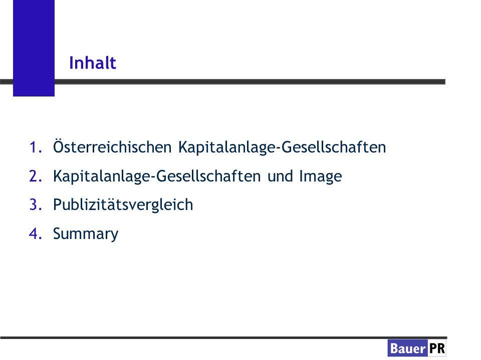 Inhalt 1.Österreichischen Kapitalanlage-Gesellschaften 2.Kapitalanlage-Gesellschaften und Image 3.Publizitätsvergleich 4.Summary