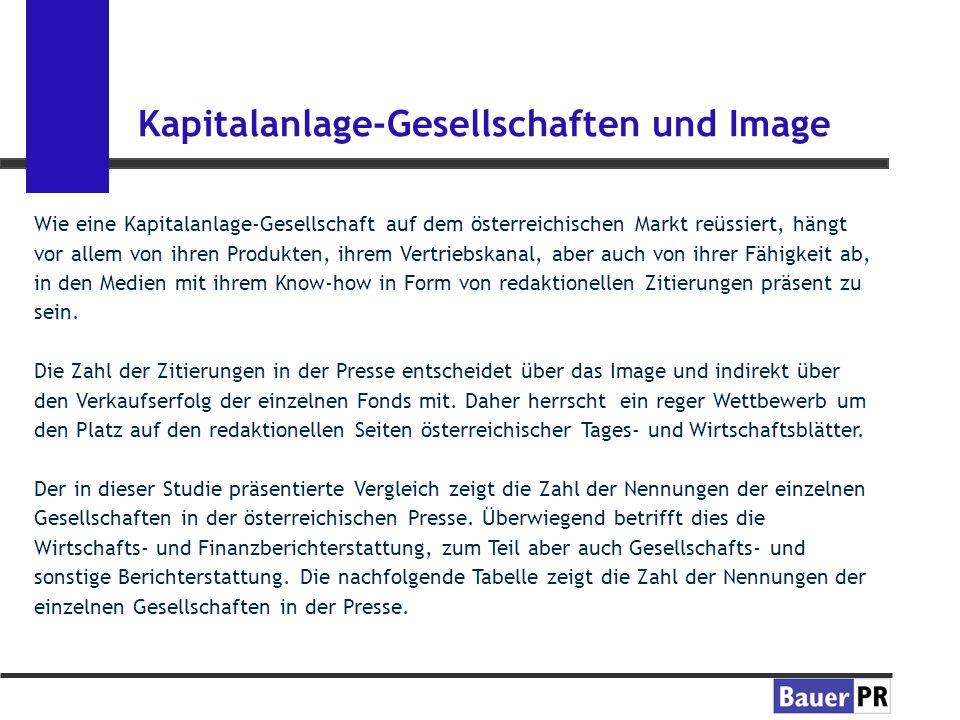 Kapitalanlage-Gesellschaften und Image Wie eine Kapitalanlage-Gesellschaft auf dem österreichischen Markt reüssiert, hängt vor allem von ihren Produkten, ihrem Vertriebskanal, aber auch von ihrer Fähigkeit ab, in den Medien mit ihrem Know-how in Form von redaktionellen Zitierungen präsent zu sein.