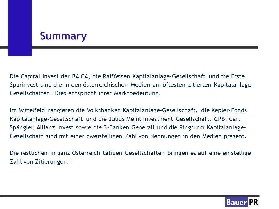 Summary Die Capital Invest der BA CA, die Raiffeisen Kapitalanlage-Gesellschaft und die Erste Sparinvest sind die in den österreichischen Medien am öftesten zitierten Kapitalanlage- Gesellschaften.