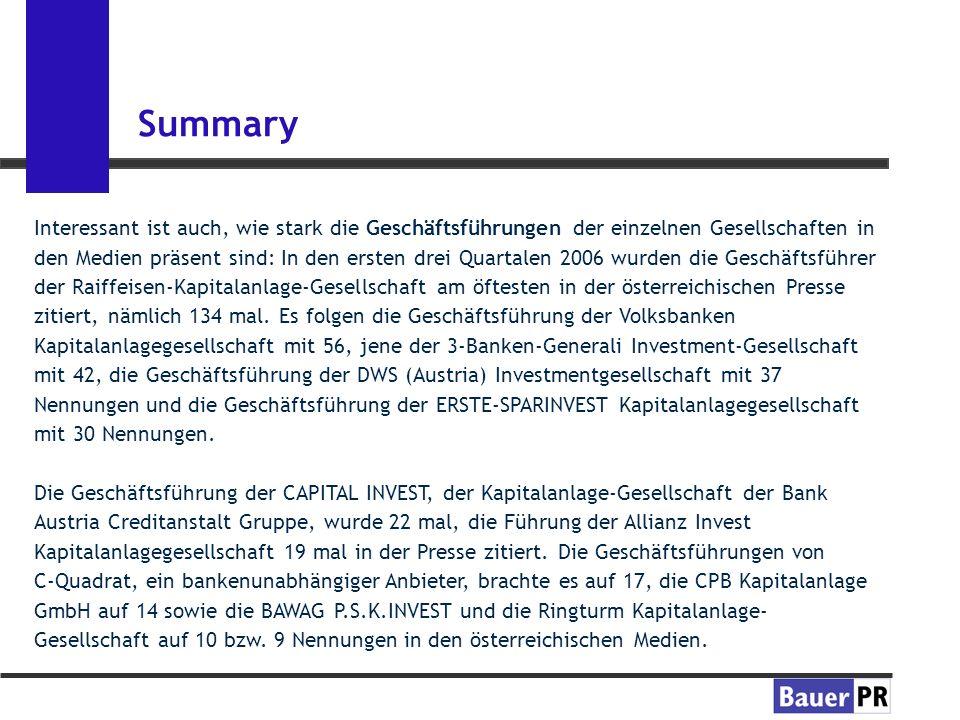 Summary Interessant ist auch, wie stark die Geschäftsführungen der einzelnen Gesellschaften in den Medien präsent sind: In den ersten drei Quartalen 2006 wurden die Geschäftsführer der Raiffeisen-Kapitalanlage-Gesellschaft am öftesten in der österreichischen Presse zitiert, nämlich 134 mal.
