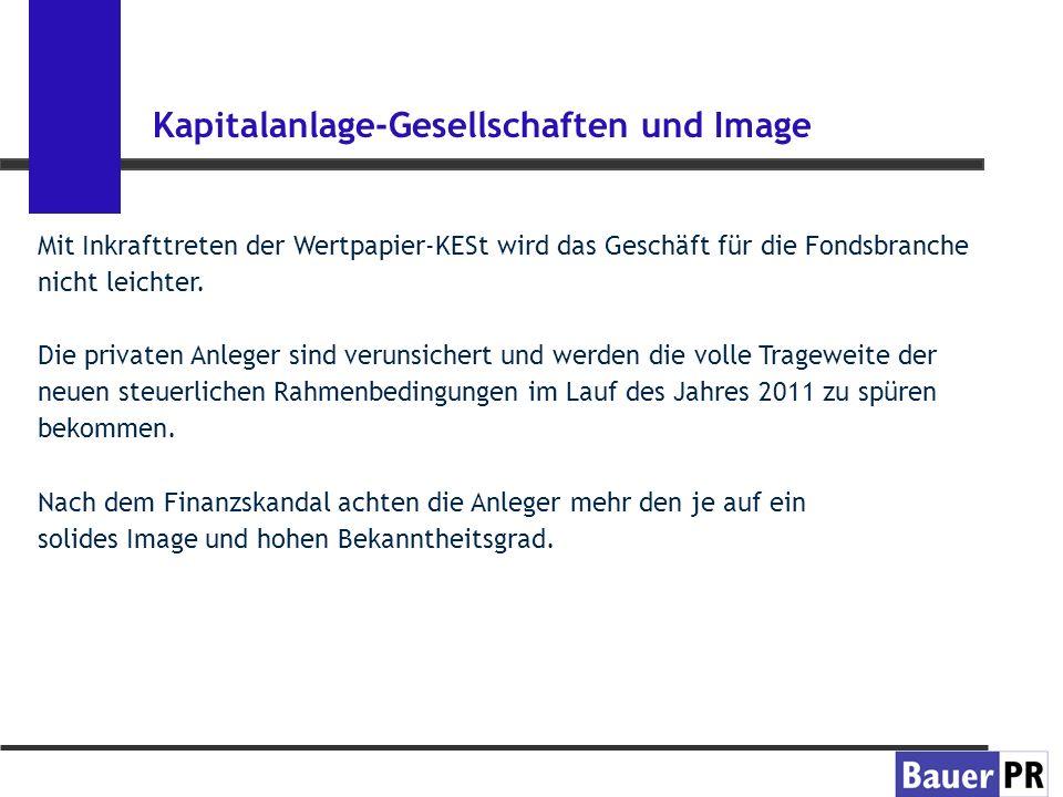 Kapitalanlage-Gesellschaften und Image Der Erfolg einer Kapitalanlage-Gesellschaft auf dem österreichischen Markt hängt nicht nur von ihren Produkten, den Analysten und vom Geschäftsführer ab, sondern von der Wahrnehmung der Kapitalanleger über redaktionelle Beiträge in Tageszeitungen und Fachmedien.