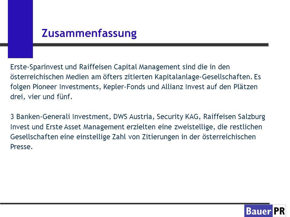 Zusammenfassung Erste-Sparinvest und Raiffeisen Capital Management sind die in den österreichischen Medien am öfters zitierten Kapitalanlage-Gesellschaften.