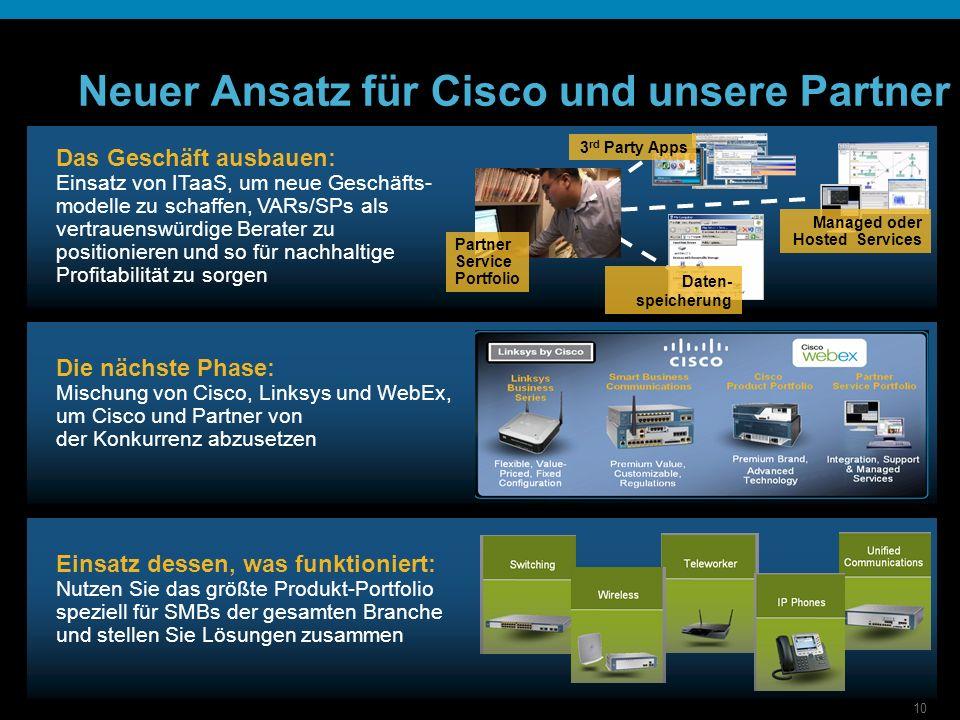 10 Neuer Ansatz für Cisco und unsere Partner Einsatz dessen, was funktioniert: Nutzen Sie das größte Produkt-Portfolio speziell für SMBs der gesamten