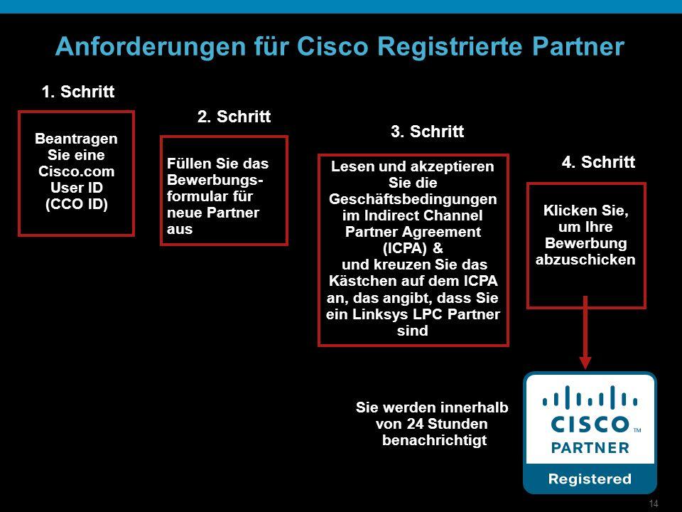 14 Anforderungen für Cisco Registrierte Partner 1. Schritt 2. Schritt Füllen Sie das Bewerbungs- formular für neue Partner aus 3. Schritt Lesen und ak