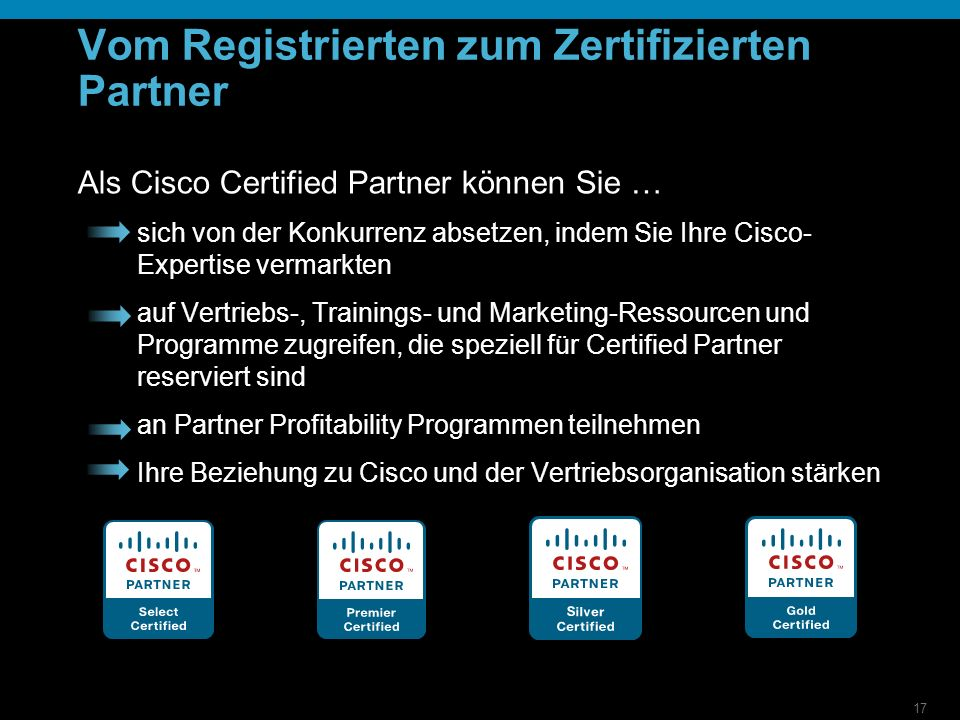 17 Vom Registrierten zum Zertifizierten Partner Als Cisco Certified Partner können Sie … sich von der Konkurrenz absetzen, indem Sie Ihre Cisco- Expertise vermarkten auf Vertriebs-, Trainings- und Marketing-Ressourcen und Programme zugreifen, die speziell für Certified Partner reserviert sind an Partner Profitability Programmen teilnehmen Ihre Beziehung zu Cisco und der Vertriebsorganisation stärken