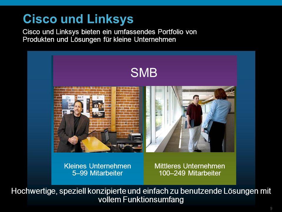 9 Cisco und Linksys SMB Kleines Unternehmen 5–99 Mitarbeiter Mittleres Unternehmen 100–249 Mitarbeiter Hochwertige, speziell konzipierte und einfach zu benutzende Lösungen mit vollem Funktionsumfang Cisco und Linksys bieten ein umfassendes Portfolio von Produkten und Lösungen für kleine Unternehmen