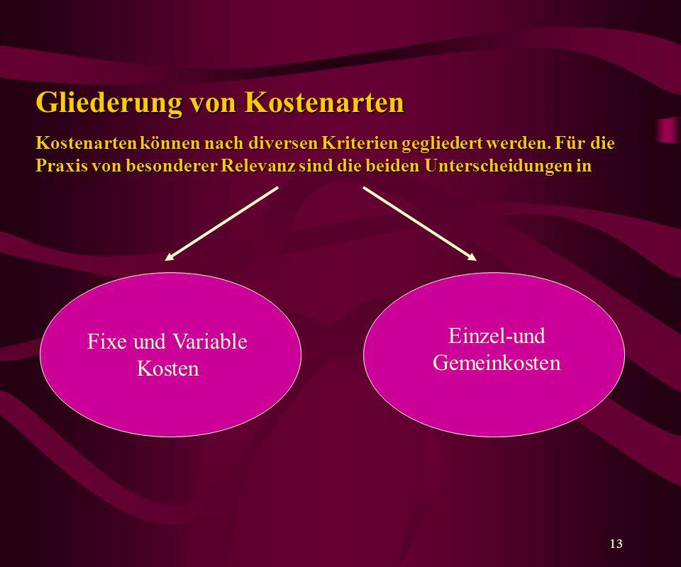 13 Gliederung von Kostenarten Kostenarten können nach diversen Kriterien gegliedert werden.