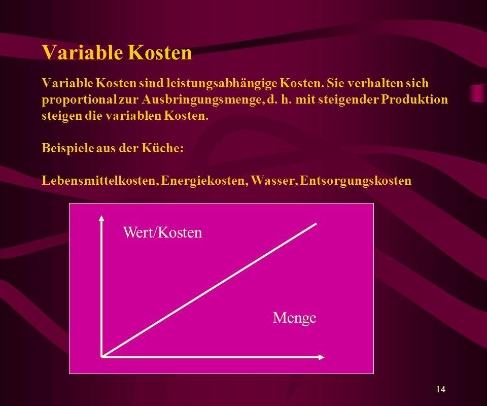 14 Variable Kosten Variable Kosten sind leistungsabhängige Kosten.