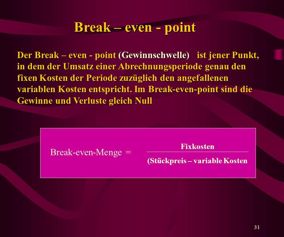 31 Break – even - point Der Break – even - point (Gewinnschwelle) ist jener Punkt, in dem der Umsatz einer Abrechnungsperiode genau den fixen Kosten der Periode zuzüglich den angefallenen variablen Kosten entspricht.