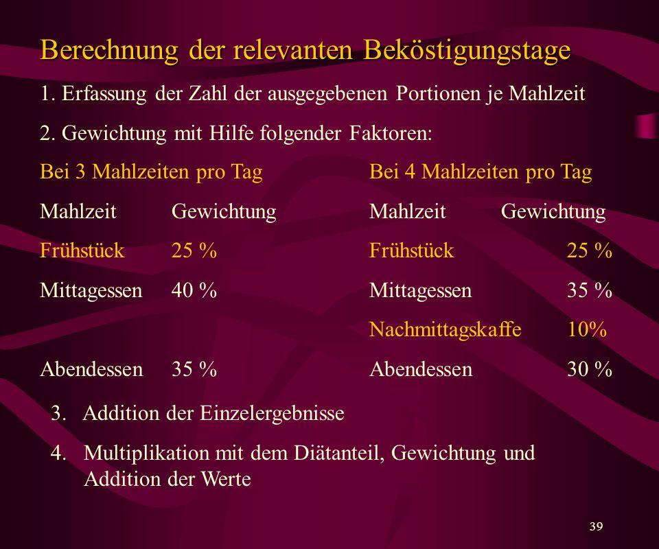 39 Berechnung der relevanten Beköstigungstage 1.