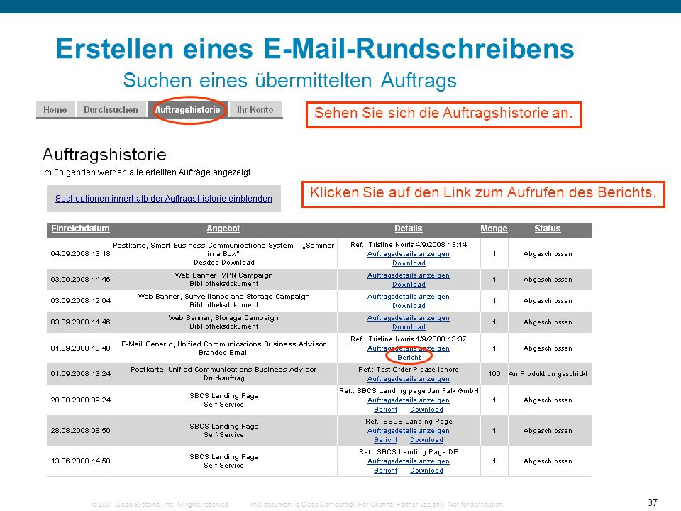 © 2007 Cisco Systems, Inc. All rights reserved. 37 This document is Cisco Confidential. For Channel Partner use only. Not for distribution. Erstellen