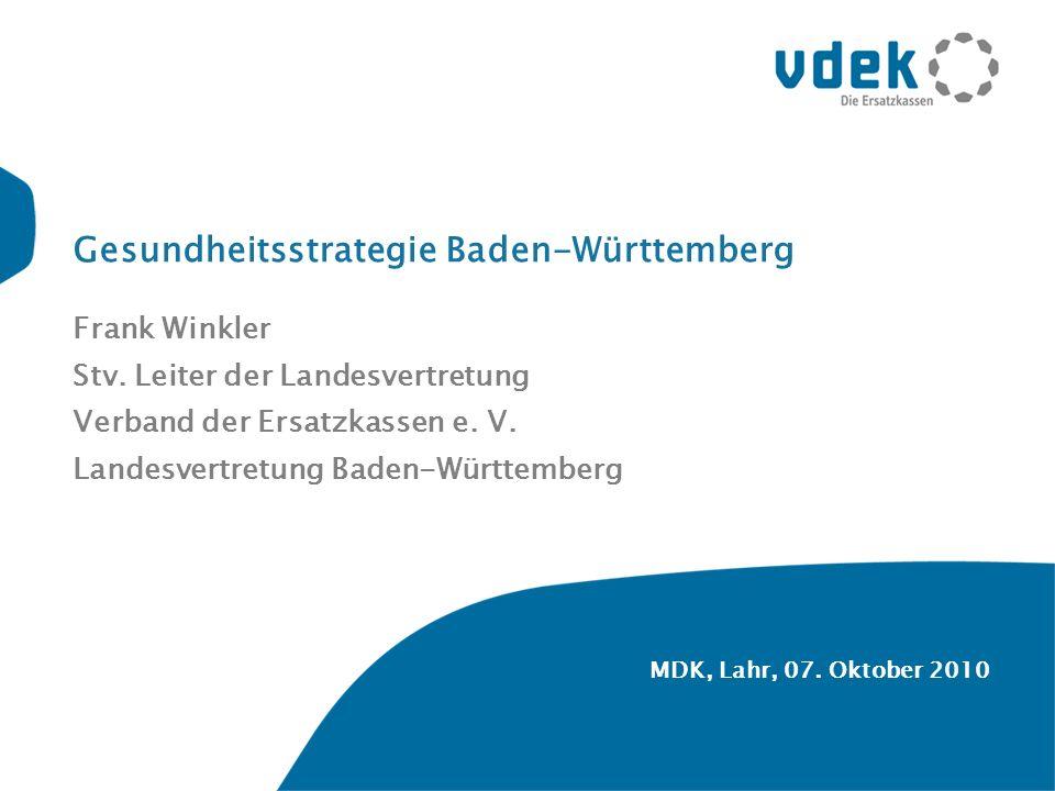 MDK, Lahr, 07.Oktober 2010 Gesundheitsstrategie Baden-Württemberg Frank Winkler Stv.