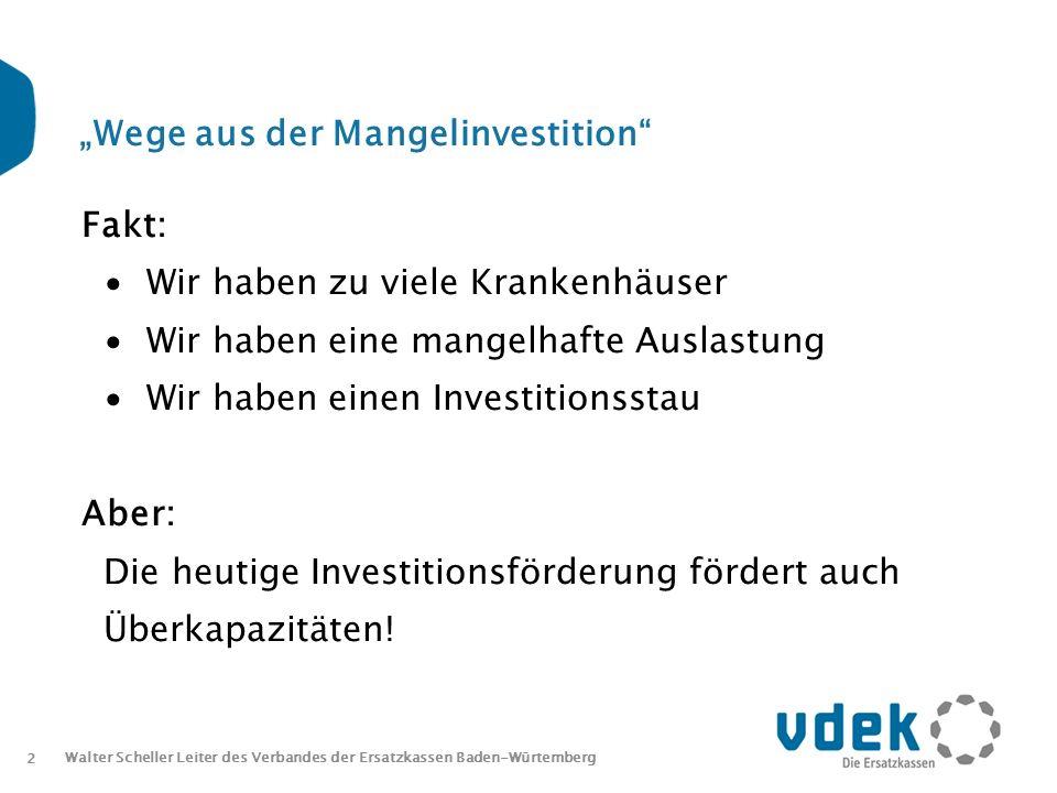 2 Walter Scheller Leiter des Verbandes der Ersatzkassen Baden-Würtemberg Wege aus der Mangelinvestition Fakt: Wir haben zu viele Krankenhäuser Wir haben eine mangelhafte Auslastung Wir haben einen Investitionsstau Aber: Die heutige Investitionsförderung fördert auch Überkapazitäten!