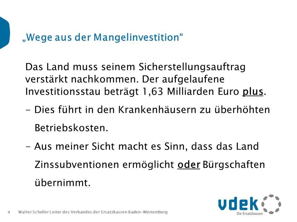 4 Walter Scheller Leiter des Verbandes der Ersatzkassen Baden-Würtemberg Wege aus der Mangelinvestition Das Land muss seinem Sicherstellungsauftrag verstärkt nachkommen.
