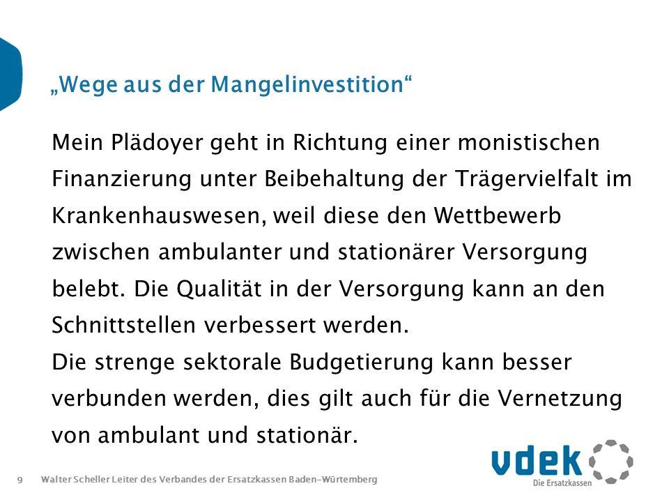10 Walter Scheller Leiter des Verbandes der Ersatzkassen Baden-Würtemberg Wege aus der Mangelinvestition Die Erlöse im Krankenhaus müssen investiert werden und dürfen nicht zur Deckung anderer Zahlungsverpflichtungen verwendet werden.