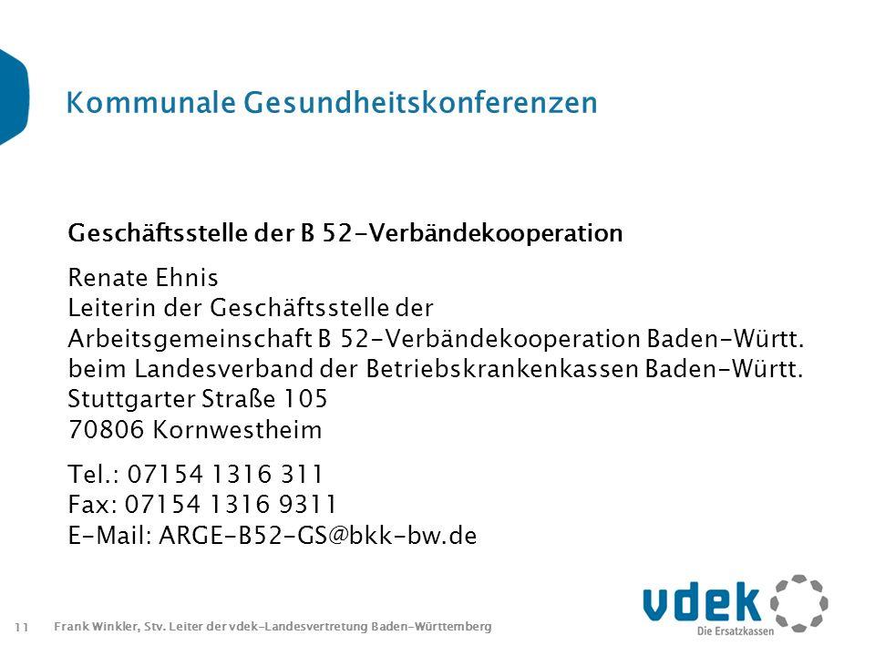 11 Frank Winkler, Stv. Leiter der vdek-Landesvertretung Baden-Württemberg Kommunale Gesundheitskonferenzen Geschäftsstelle der B 52-Verbändekooperatio