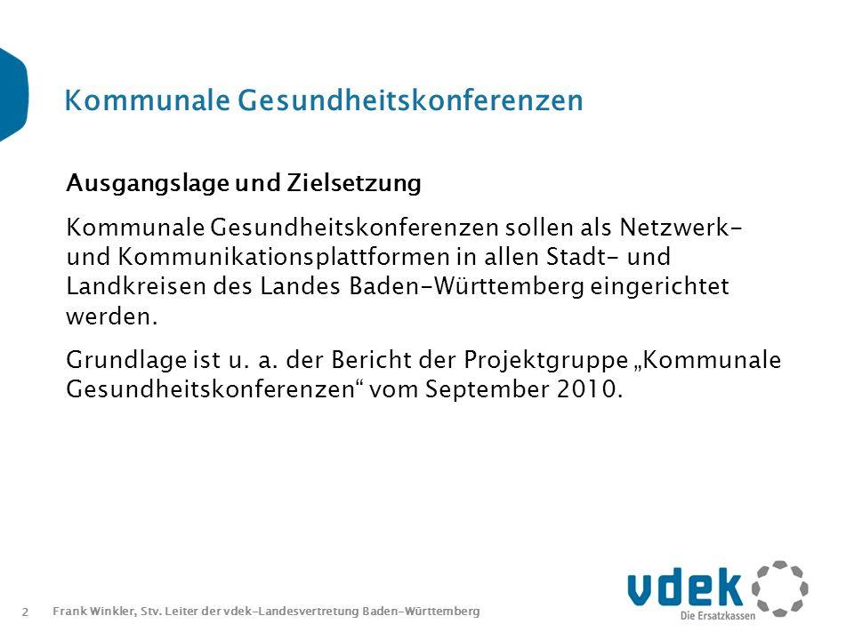 2 Frank Winkler, Stv. Leiter der vdek-Landesvertretung Baden-Württemberg Kommunale Gesundheitskonferenzen Ausgangslage und Zielsetzung Kommunale Gesun