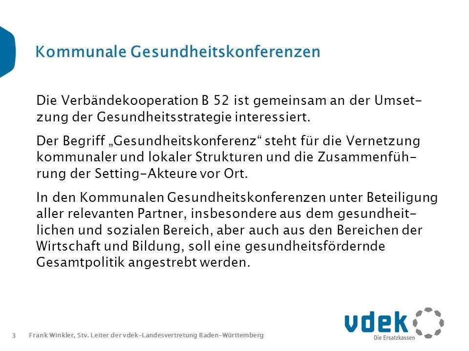 3 Frank Winkler, Stv. Leiter der vdek-Landesvertretung Baden-Württemberg Kommunale Gesundheitskonferenzen Die Verbändekooperation B 52 ist gemeinsam a