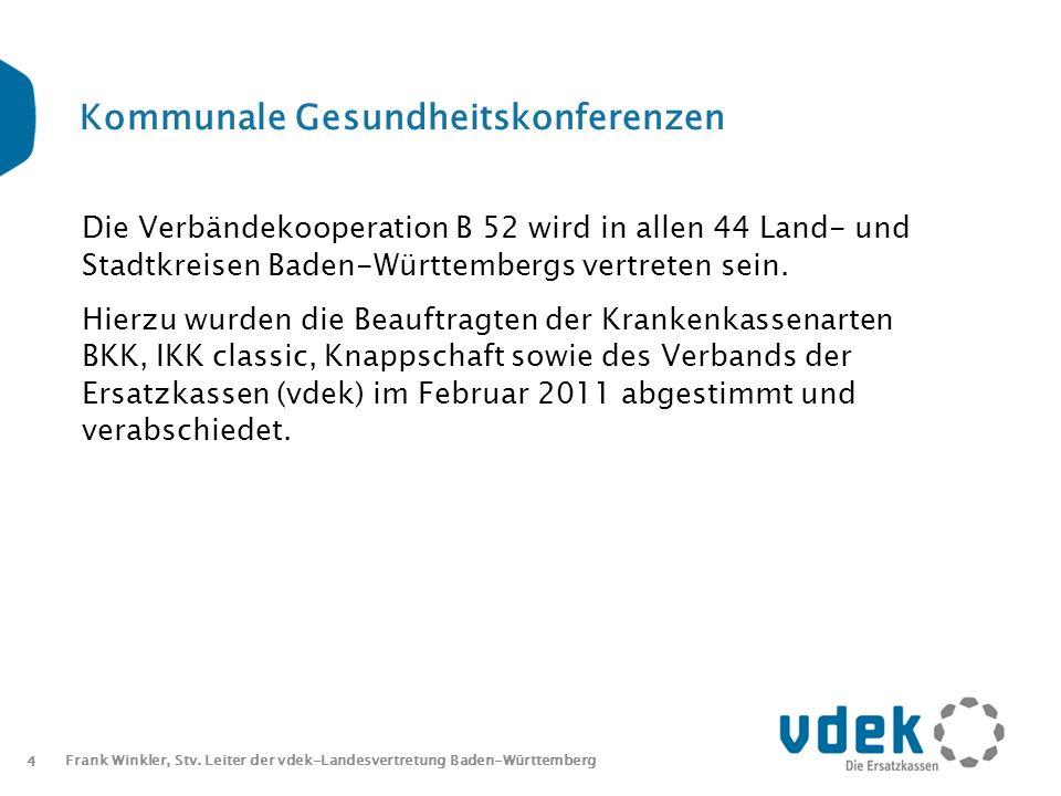 4 Frank Winkler, Stv. Leiter der vdek-Landesvertretung Baden-Württemberg Kommunale Gesundheitskonferenzen Die Verbändekooperation B 52 wird in allen 4