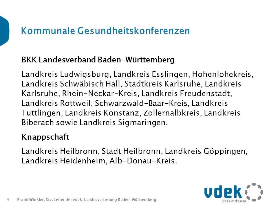 5 Frank Winkler, Stv. Leiter der vdek-Landesvertretung Baden-Württemberg Kommunale Gesundheitskonferenzen BKK Landesverband Baden-Württemberg Landkrei