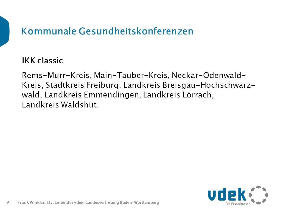6 Frank Winkler, Stv. Leiter der vdek-Landesvertretung Baden-Württemberg Kommunale Gesundheitskonferenzen IKK classic Rems-Murr-Kreis, Main-Tauber-Kre