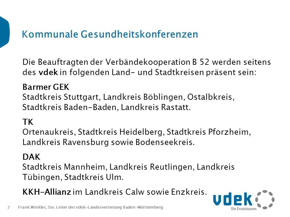 7 Frank Winkler, Stv. Leiter der vdek-Landesvertretung Baden-Württemberg Kommunale Gesundheitskonferenzen Die Beauftragten der Verbändekooperation B 5