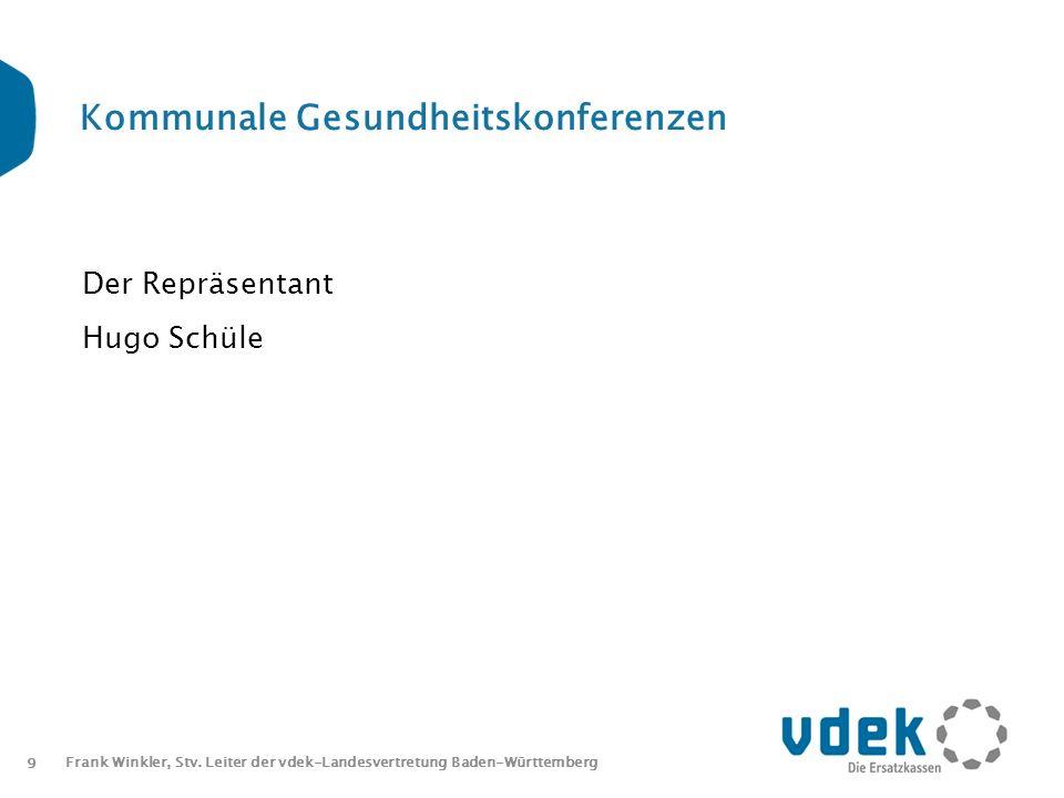 9 Frank Winkler, Stv. Leiter der vdek-Landesvertretung Baden-Württemberg Kommunale Gesundheitskonferenzen Der Repräsentant Hugo Schüle
