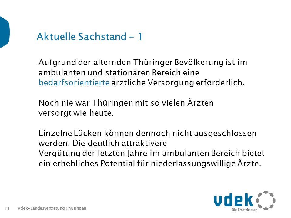 11 vdek-Landesvertretung Thüringen Aktuelle Sachstand - 1 Aufgrund der alternden Thüringer Bevölkerung ist im ambulanten und stationären Bereich eine bedarfsorientierte ärztliche Versorgung erforderlich.