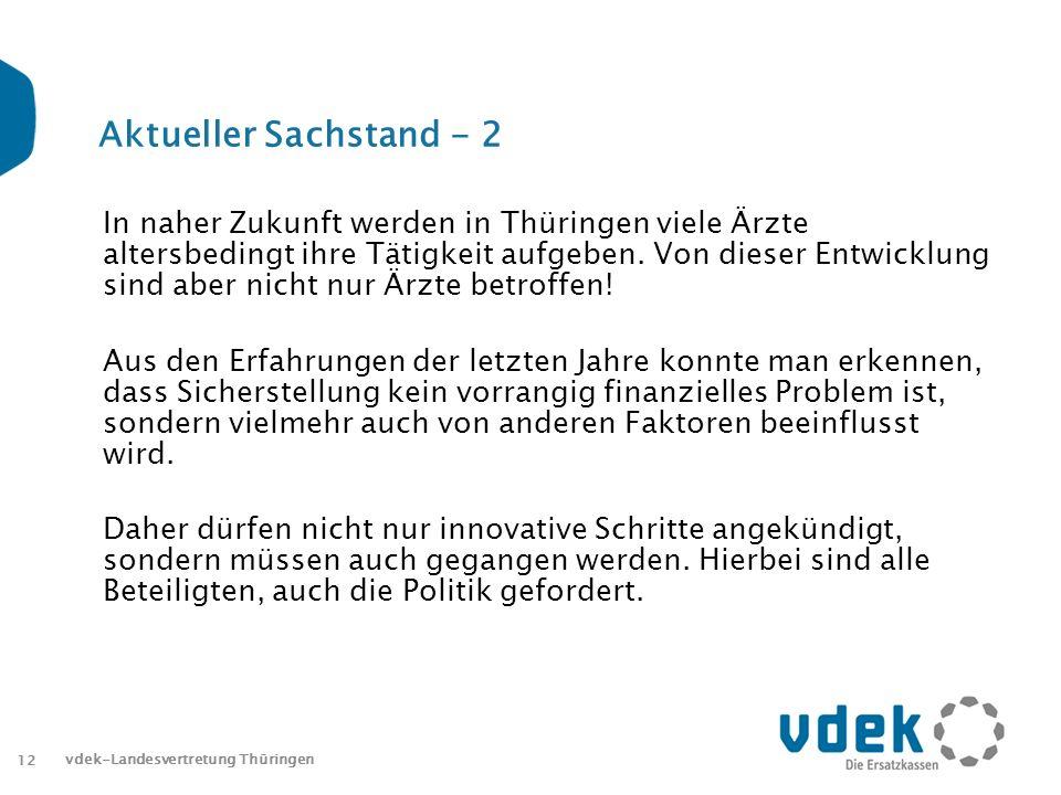 12 Aktueller Sachstand - 2 In naher Zukunft werden in Thüringen viele Ärzte altersbedingt ihre Tätigkeit aufgeben.
