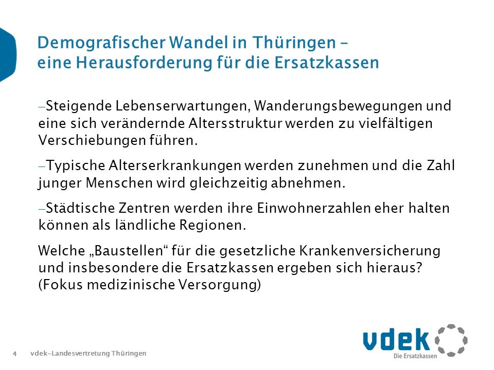 4 Demografischer Wandel in Thüringen – eine Herausforderung für die Ersatzkassen Steigende Lebenserwartungen, Wanderungsbewegungen und eine sich verändernde Altersstruktur werden zu vielfältigen Verschiebungen führen.