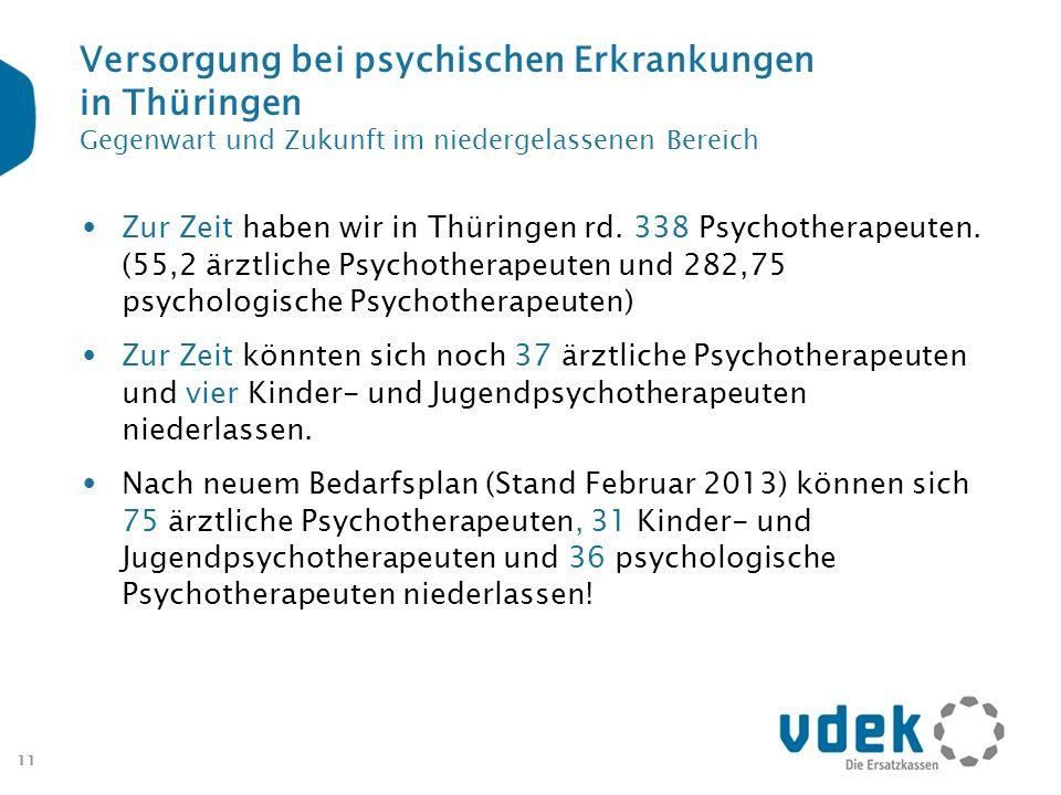 11 Versorgung bei psychischen Erkrankungen in Thüringen Gegenwart und Zukunft im niedergelassenen Bereich Zur Zeit haben wir in Thüringen rd. 338 Psyc