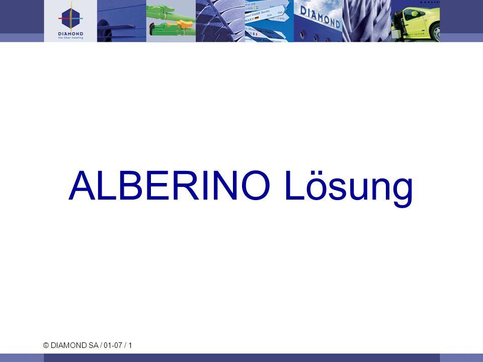 © DIAMOND SA / 01-07 / 2 E-2000 ALBERINO Produktbeschreibung Eine einzige und robuste Komponente für vielseitigen Gebrauch DIAMOND Mehrkomponentenferrule (Ti – Zirconia) Alberino Halbschalen: Kunststoff (PEI) Bewegliches Teil, das die Öffnung der Alberinos zur Steckerkonfektionierung oder zur FUSION-Konfektionierung ermöglicht.