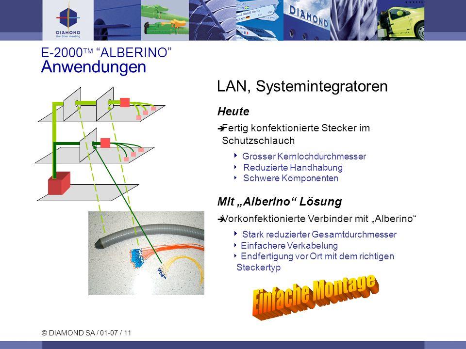 © DIAMOND SA / 01-07 / 11 LAN, Systemintegratoren Heute Fertig konfektionierte Stecker im Schutzschlauch Grosser Kernlochdurchmesser Reduzierte Handha