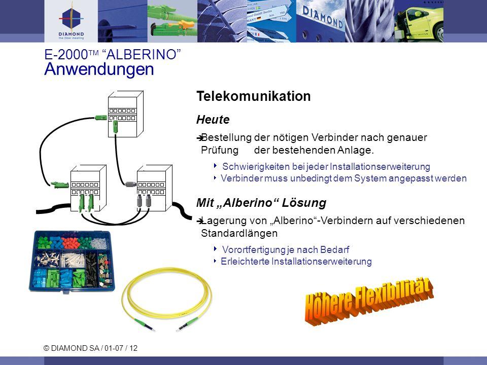 © DIAMOND SA / 01-07 / 12 Telekomunikation Heute Bestellung der nötigen Verbinder nach genauer Prüfung der bestehenden Anlage. Schwierigkeiten bei jed