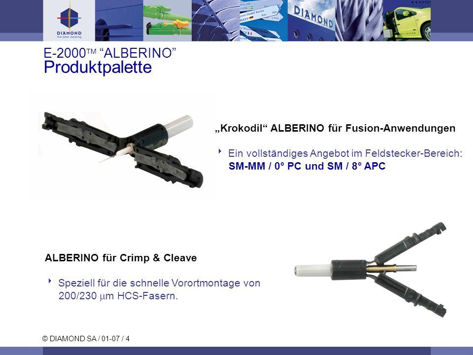 © DIAMOND SA / 01-07 / 5 E-2000 ALBERINO Bestehende Produkte Stecker SC Simplex, Duplex -Alberino: Für: SM- PC/APC und MM-PC Stecker E-2000 TM Simplex, Duplex & Backplane -Alberino: Für: SM- PC/APC und MM-PC