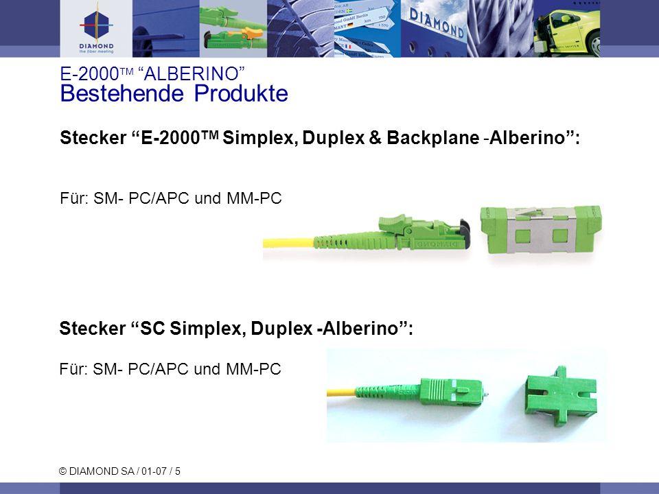 © DIAMOND SA / 01-07 / 5 E-2000 ALBERINO Bestehende Produkte Stecker SC Simplex, Duplex -Alberino: Für: SM- PC/APC und MM-PC Stecker E-2000 TM Simplex