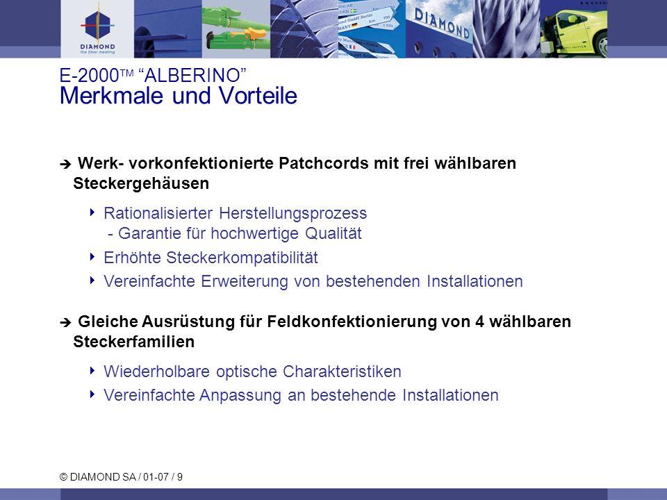 © DIAMOND SA / 01-07 / 9 Werk- vorkonfektionierte Patchcords mit frei wählbaren Steckergehäusen Rationalisierter Herstellungsprozess - Garantie für ho