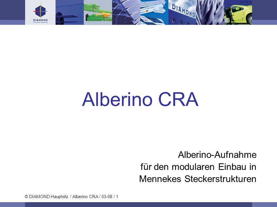 © DIAMOND SA / 11-06 / 2 © DIAMOND Hauptsitz / Alberino CRA / 03-08 / 2 Alberino CRA Einführung Der neue Alberino CRA bietet eine Mehrkanalverbindungslösung für bis 12 Fasern in unterschiedlichen stossfesten und wasserdichten Gehäusen mit flexiblen Konfigurationen verfügbar.