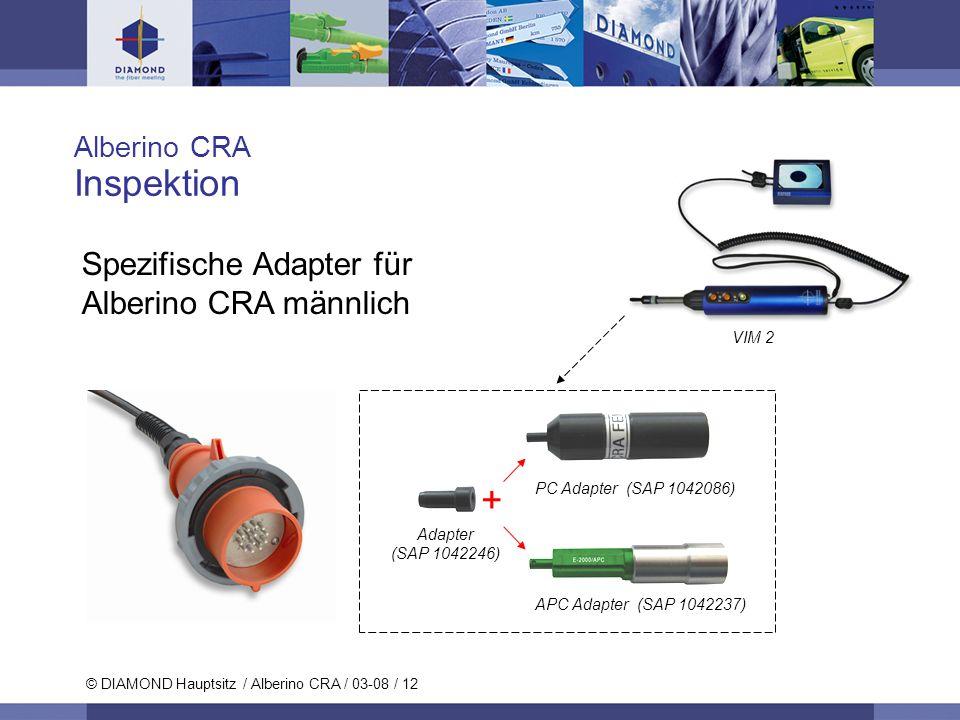 © DIAMOND SA / 11-06 / 12 © DIAMOND Hauptsitz / Alberino CRA / 03-08 / 12 Alberino CRA Inspektion Spezifische Adapter für Alberino CRA männlich PC Ada