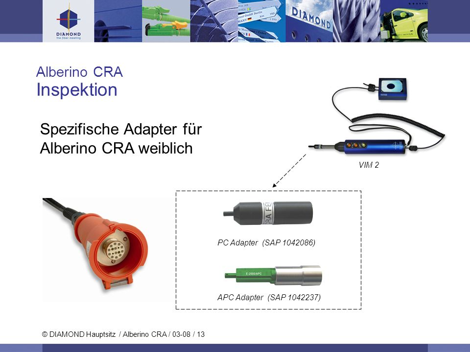 © DIAMOND SA / 11-06 / 13 © DIAMOND Hauptsitz / Alberino CRA / 03-08 / 13 Alberino CRA Inspektion Spezifische Adapter für Alberino CRA weiblich PC Ada