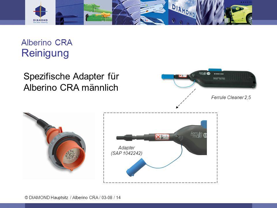 © DIAMOND SA / 11-06 / 14 © DIAMOND Hauptsitz / Alberino CRA / 03-08 / 14 Alberino CRA Reinigung Spezifische Adapter für Alberino CRA männlich Ferrule