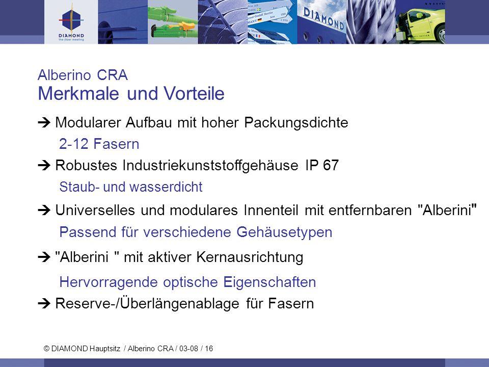© DIAMOND SA / 11-06 / 16 © DIAMOND Hauptsitz / Alberino CRA / 03-08 / 16 Alberino CRA Merkmale und Vorteile Modularer Aufbau mit hoher Packungsdichte